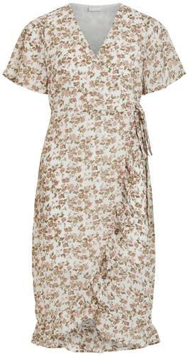 helles, geblümtes Kleid mit kurzen Ärmeln und leichten Volants