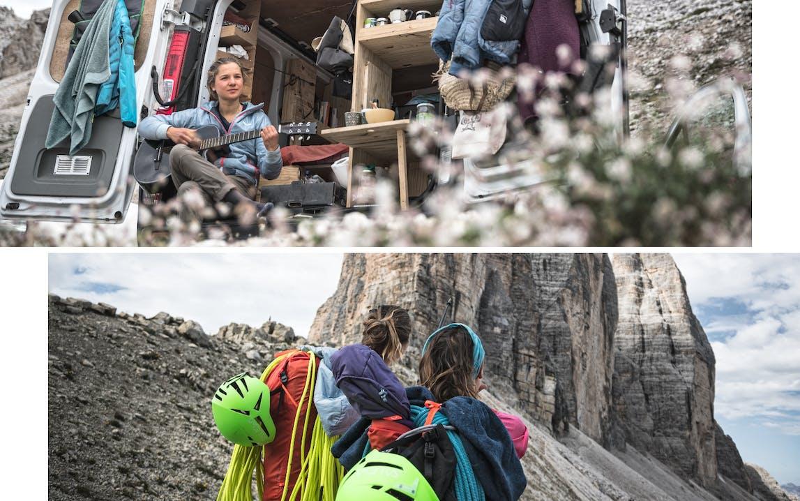Collage di foto di persone in ambiente montano