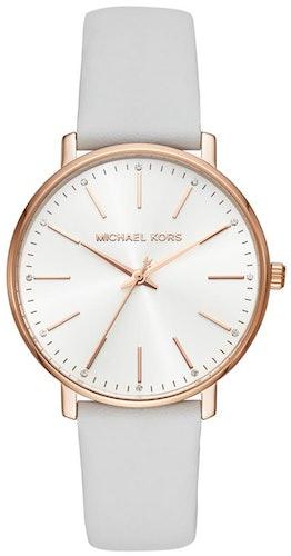 Cette montre MICHAEL KORS se compose d'un boîtier Rond de 38 mm et d'un bracelet en Cuir Blanc