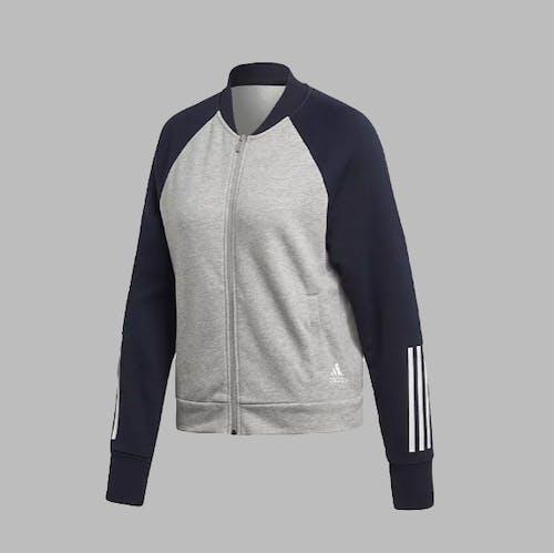 Adidas Sport Bomberjacke Grau/Blau Legend Ink