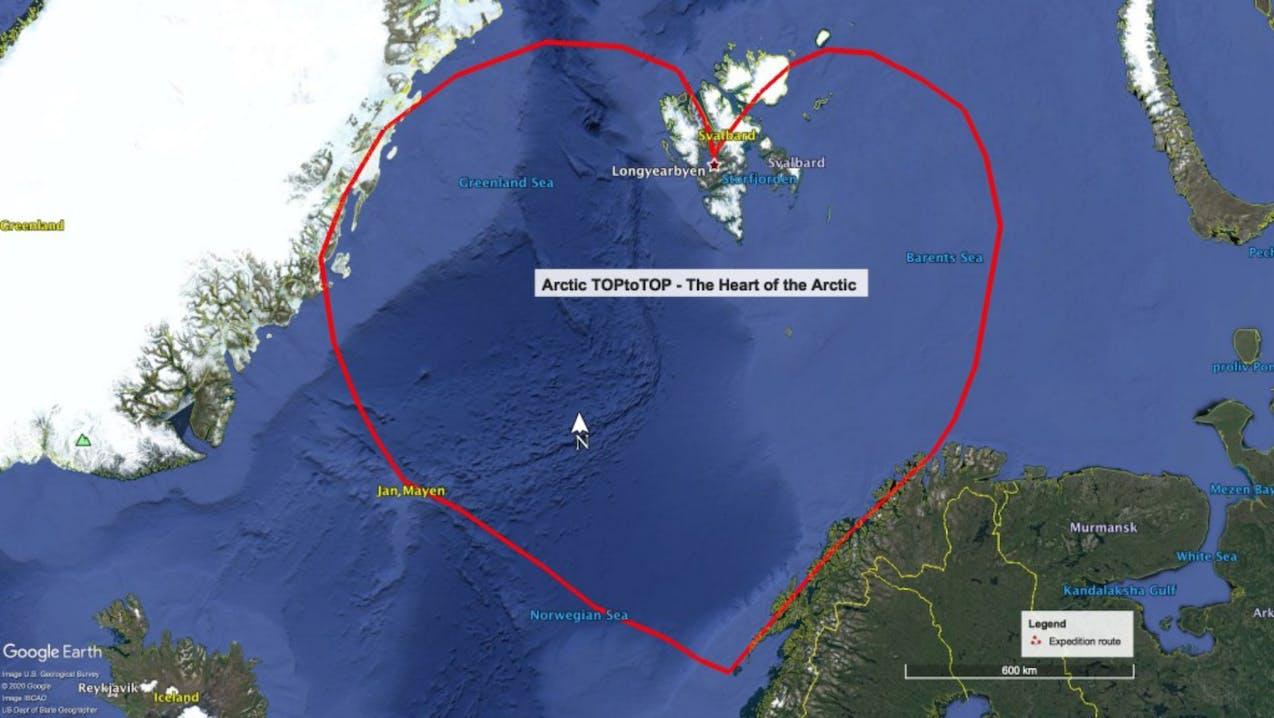 Route in der Arktis; Tromsø, Svalbard, Jan Mayen, Grönland und Island