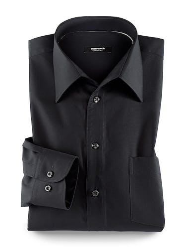 Schwarzes Hemd mit Manschette und Walbusch-Kragen.