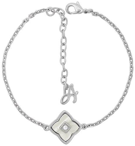 Ce Bracelet ADORE est en Métal et Cristal Blanc