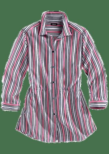 Gestreifte Bluse in pink und Marine.