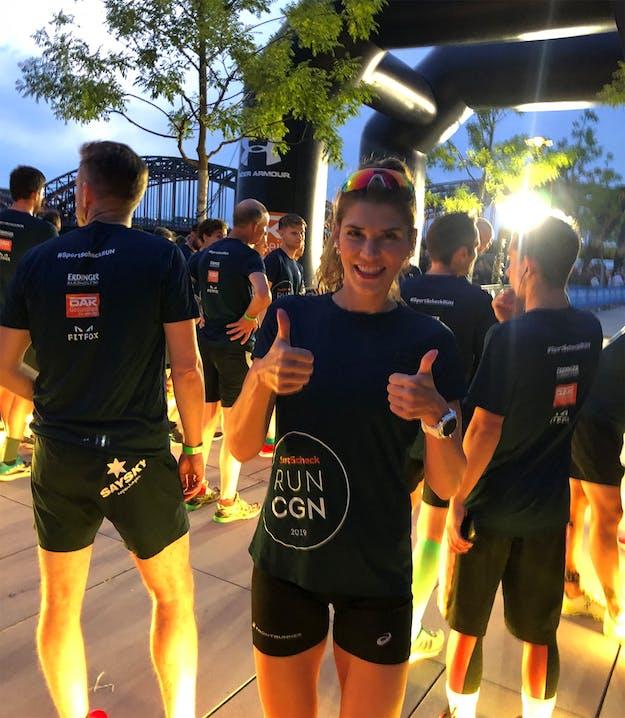 Andrea Diethers vor dem Start beim SportScheck RUN in Köln