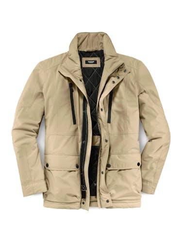 Beige Jacke mit 2 Taschen und Reißverschluss.