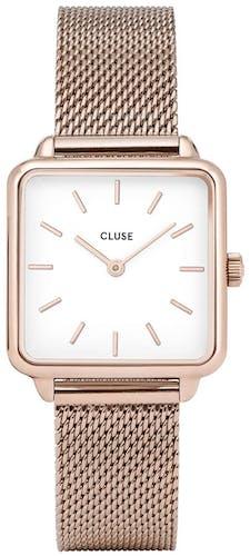 Cette montre CLUSE se compose d'un boîtier Carré de 28.5 mm et d'un bracelet en Acier Rose