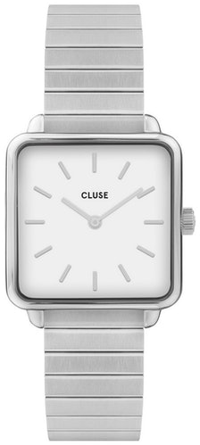 Cette montre CLUSE se compose d'un boîtier Carré de 28.5 mm et d'un bracelet en Acier Gris