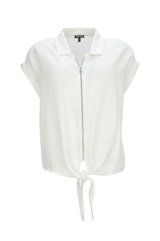 Bluse mit Zip und Knoten