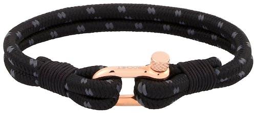 Ce Bracelet ROCHET est en Corde Noire et Acier Rose