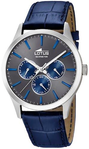 Cette montre LOTUS se compose d'un Boîtier Rond de 42 mm et d'un bracelet en Cuir Bleu