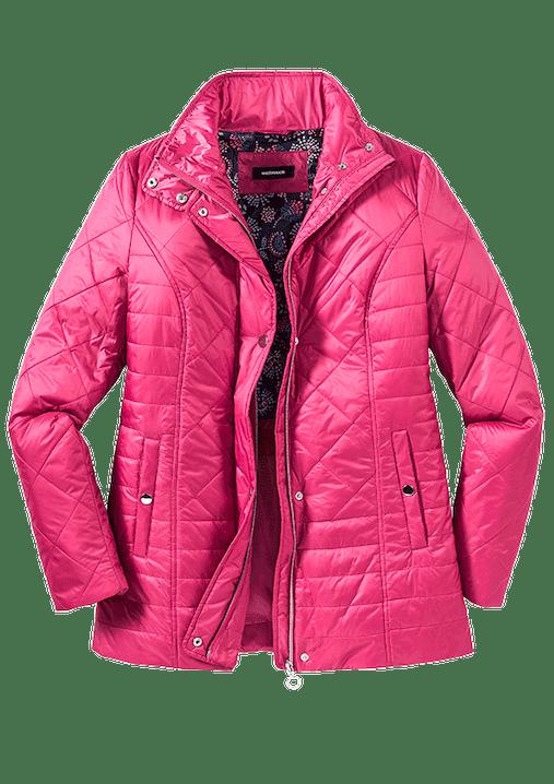 Knallpinke Jacke mit Stepp und Reißverschluss.