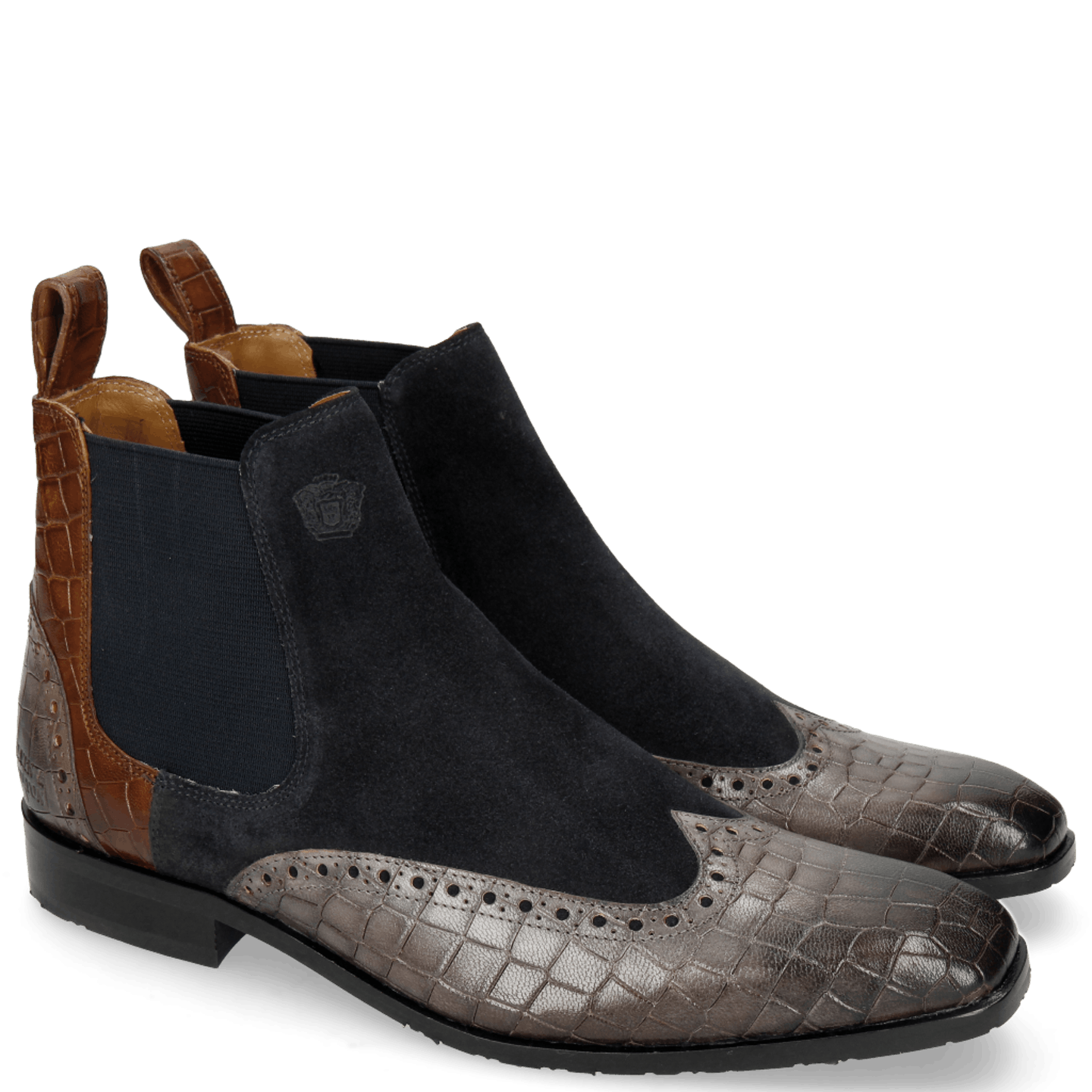 Rico 12 Venice Crock Stone Suede Pattini Perfo Navy Mid Brown