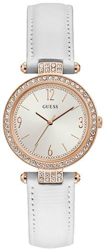 Cette montre GUESS se compose d'un boîtier Rond de 32 mm et d'un bracelet en Cuir Blanc