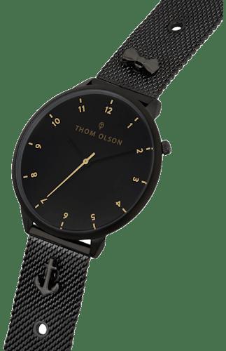 Montre THOM OLSON Mixte avec Boitier Rond 40 mm et Bracelet Acier Noir