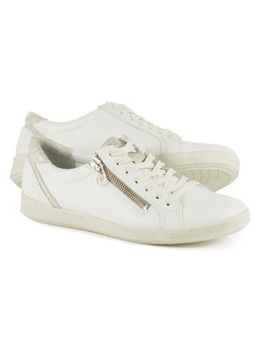 Weißer Sneaker mit Reißverschluss und Schnürsenkeln.