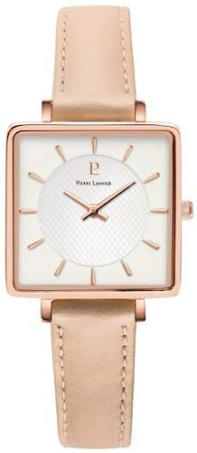 Cette montre PIERRE LANNIER se compose d'un boîtier Carré de 30 mm x 30 mm et d'un bracelet en Cuir Rose