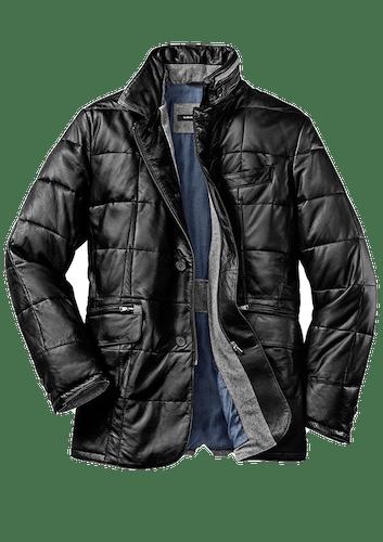 Schwarze Lederjacke in Sakkoform mit grauem Wollflanell im Jackeninneren.