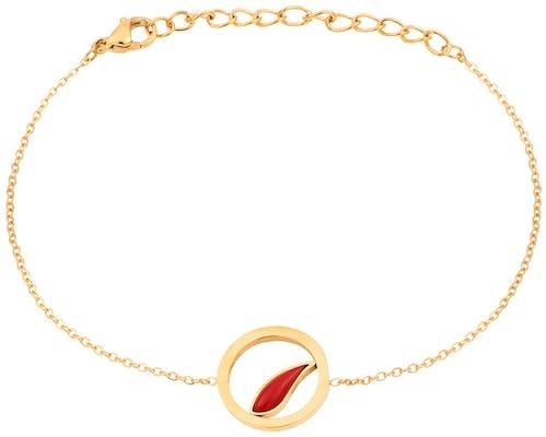 Ce Bracelet MISSISSIPI est en Acier Doré et Corail Rouge