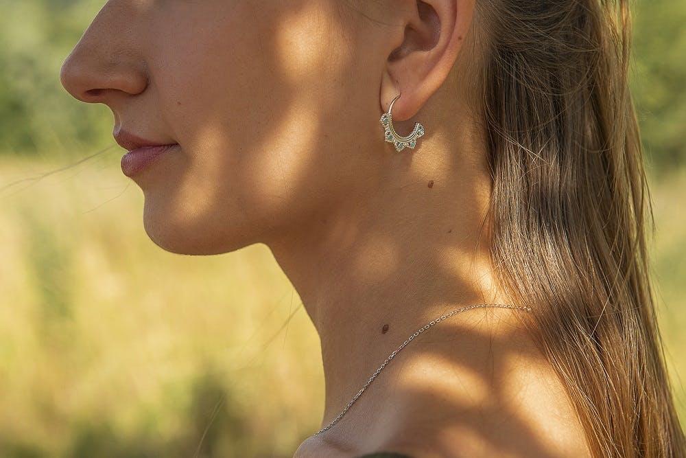 Boucles d'oreilles TIPY en Argent 925/1000 Blanc et Oxyde Bleu
