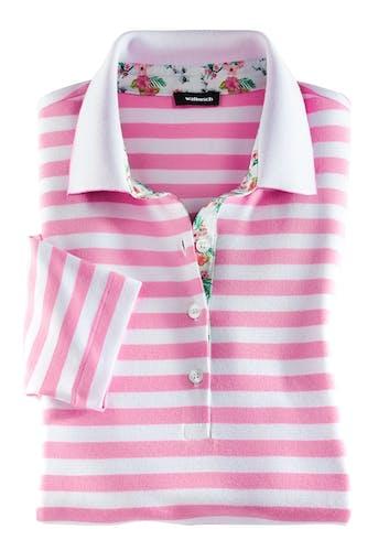 Weiß-pink gestreiftes Polo mit Blumenmuster am Innenkragen und an der Knopfleiste.