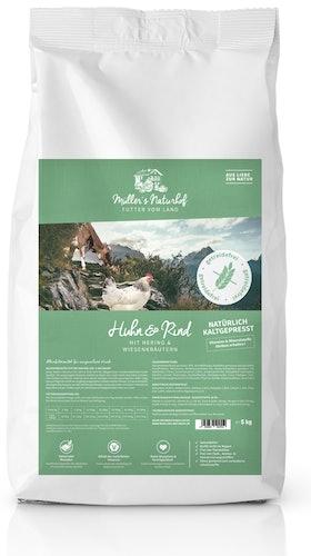 Müller's Naturhof - Trockenfutter - Natürlich Kaltgepresst Huhn und Rind mit Hering und Wiesenkräutern (getreidefrei)