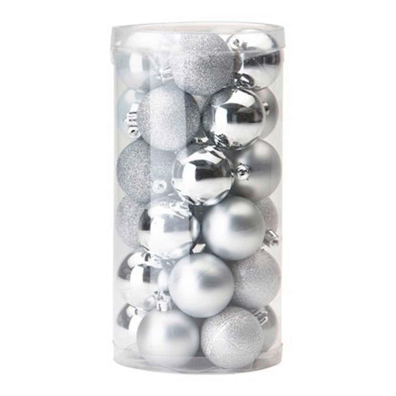 Sada vánočních ozdob 30dílná stříbrná