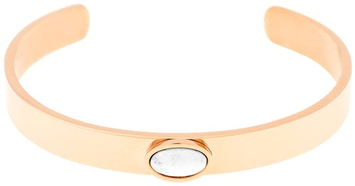 Ce Bracelet MISSISSIPI est en Acier Rose et Agate Blanc