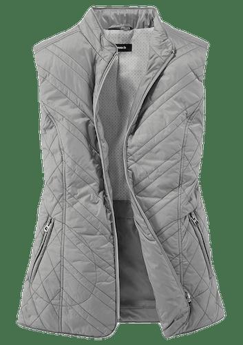 Graue Steppweste mit zwei Reißverschlusstaschen.