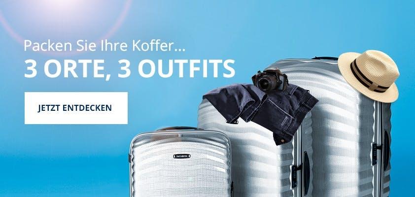 3 Koffer mit Hut, Kamera und Hose