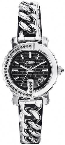 Cette montre JEAN PAUL GAULTIER se compose d'un Boîtier Rond de 27 cm et d'un bracelet en Cuir Noir