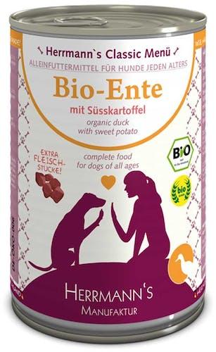 Herrmann's Nassfutter Bio-Ente mit Süßkartoffeln (getreidefrei)
