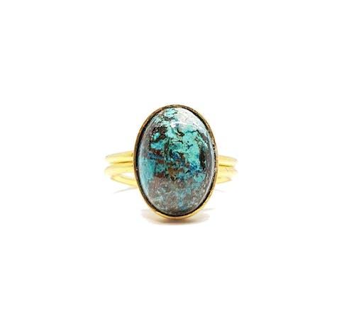 Bague réglable en Vermeil* ornée d'une pierre de Chrysocolle de 10x14mm.Vermeil: Argent925 Plaqué Or 8 micronsMatière principale : Or