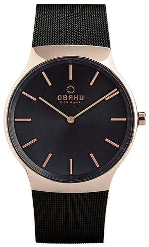 Montre OBAKU Homme avec Boîtier Rond 40 mm et Bracelet Acier Noir