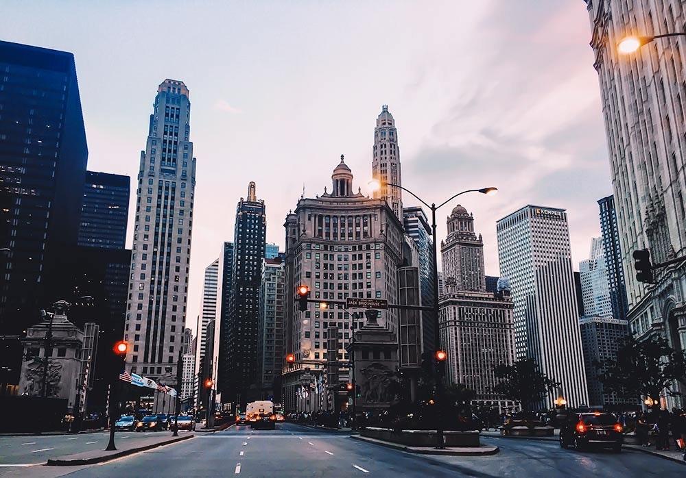Chicago in der Dämmerung