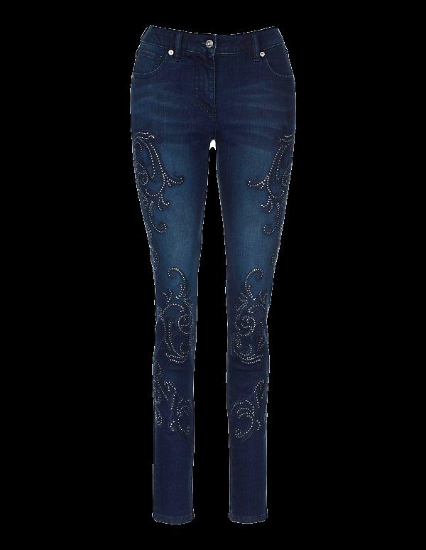 Bestickte Stretch-Jeans mit Strass-Besatz