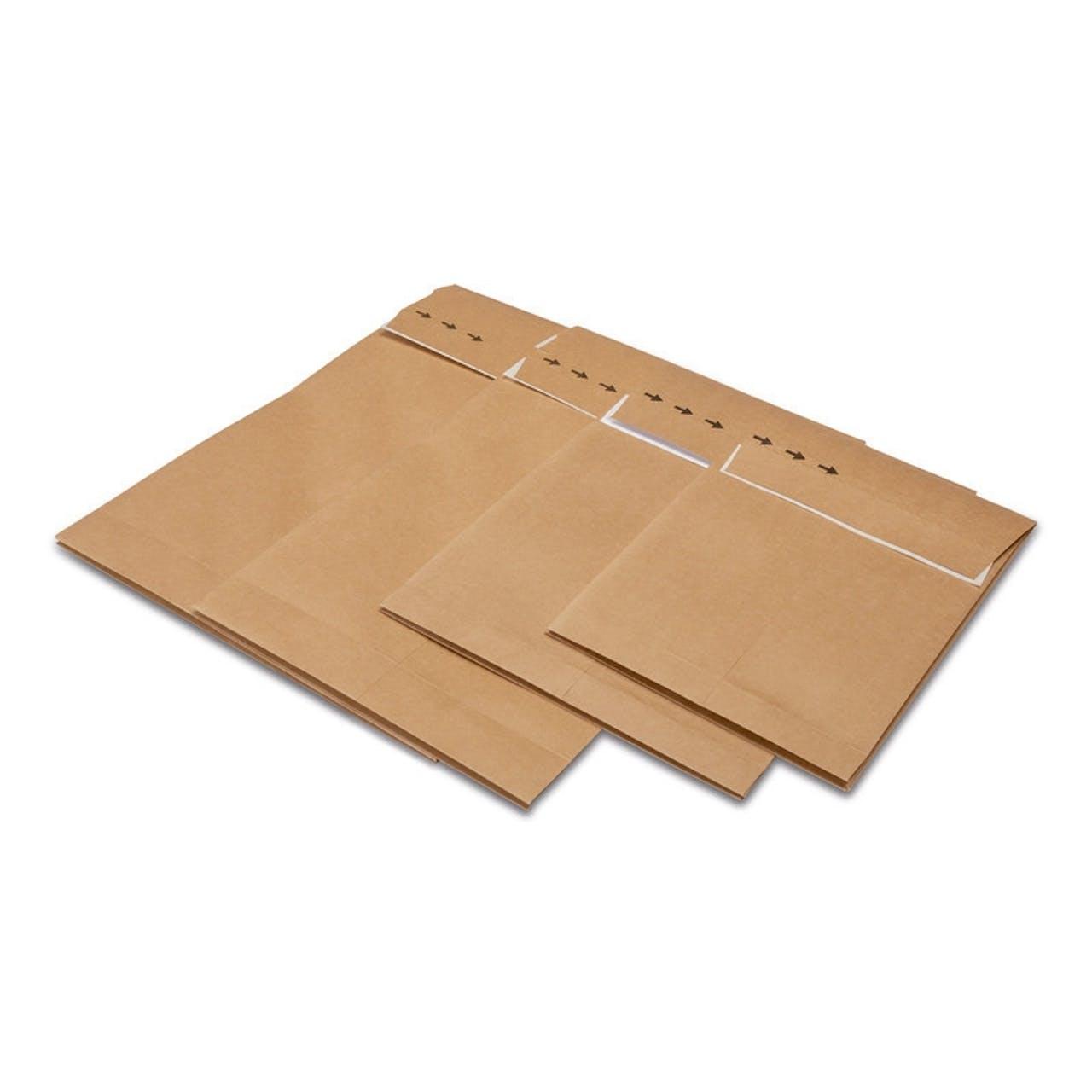 Faltentasche Papier, mit Aufreißfaden und 2-fach Selbstklebung