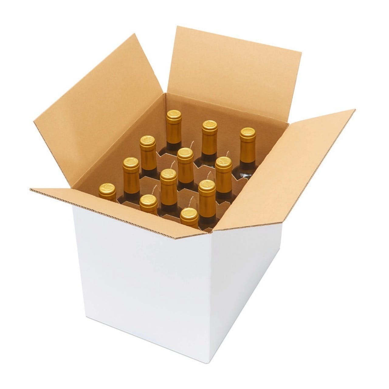 Weinflaschenkarton 12er mit Automatikgefache, VAR: FKA12w