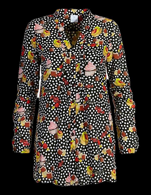 Langes Hemd mit Törtchen- und Pralinen-Dessin