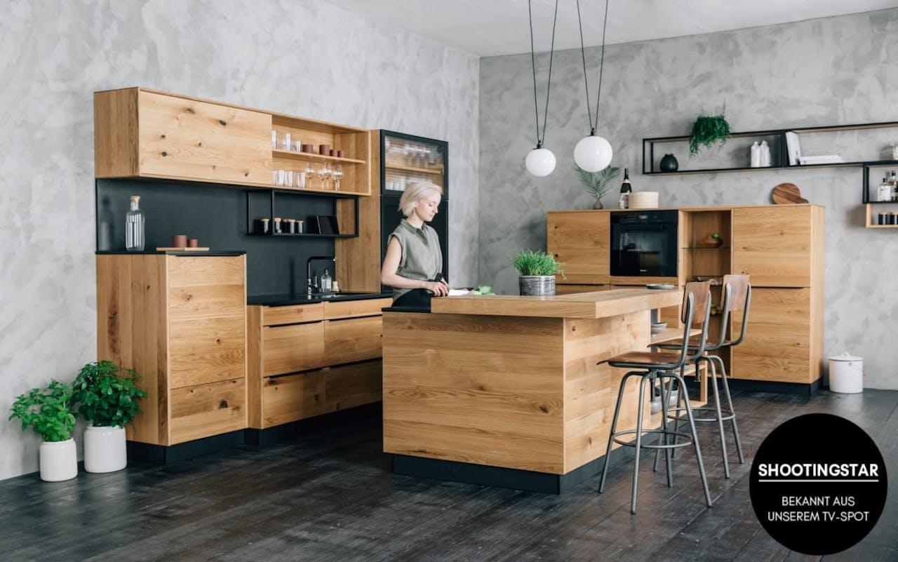 Walden Marken-Einbauküche in Wildeiche massiv