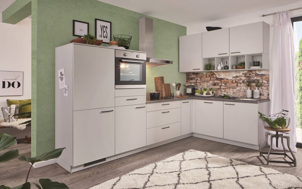 Einbauküche PN80, lichtgrau, inklusive Elektrogeräte