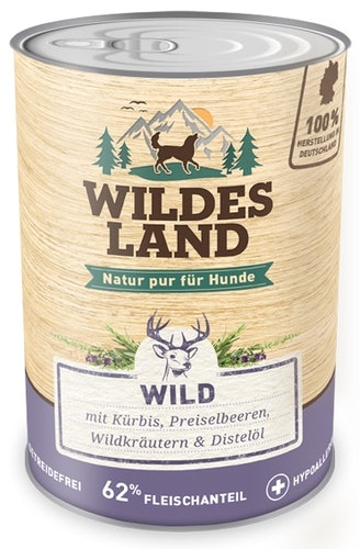 Wildes Land - Nassfutter - Wild mit Kürbis, Preiselbeeren, Wildkräutern und Distelöl (getreidefrei)