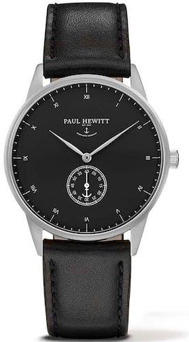 Cette montre PAUL HEWITT se compose d'un Boîtier Rond de 38 mm et d'un bracelet en Cuir Noir