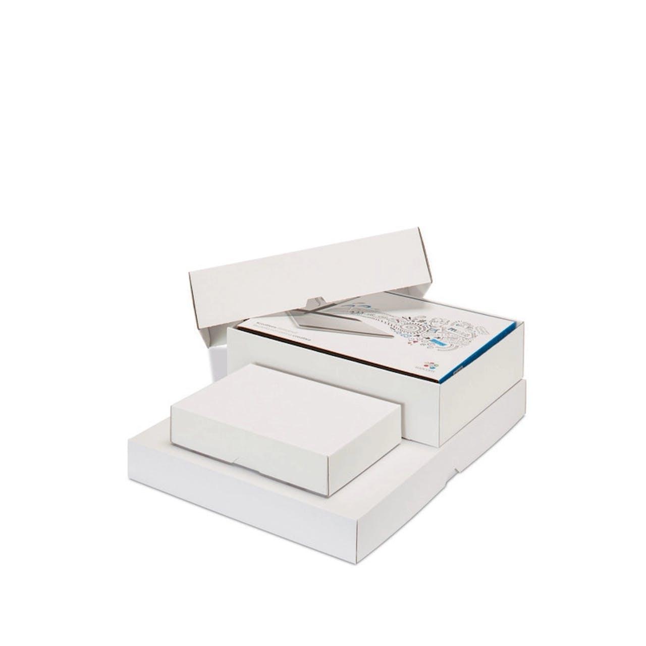 Caisse carton à couvercle coiffant, blanche, Var: 182-10w