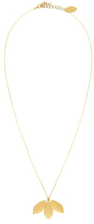 Voilà un petit collier chic et glamour avec ses trois jolis pétales dorés en pendentif. A porter seul autour de votre cou pour un plus bel effet ! Laiton doré à l'or fin 24K