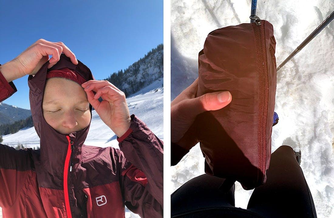 Winddichte Jacke durch Kapuze mit selbstregulierendem Saum