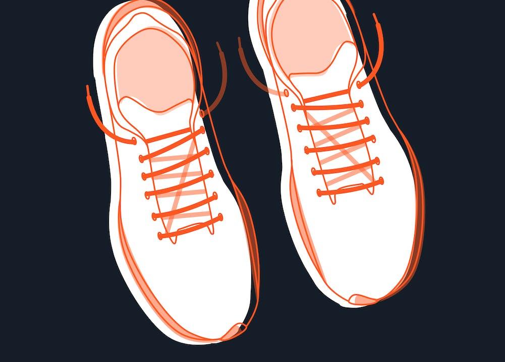 Diagonale Laufschuh-Schnürung