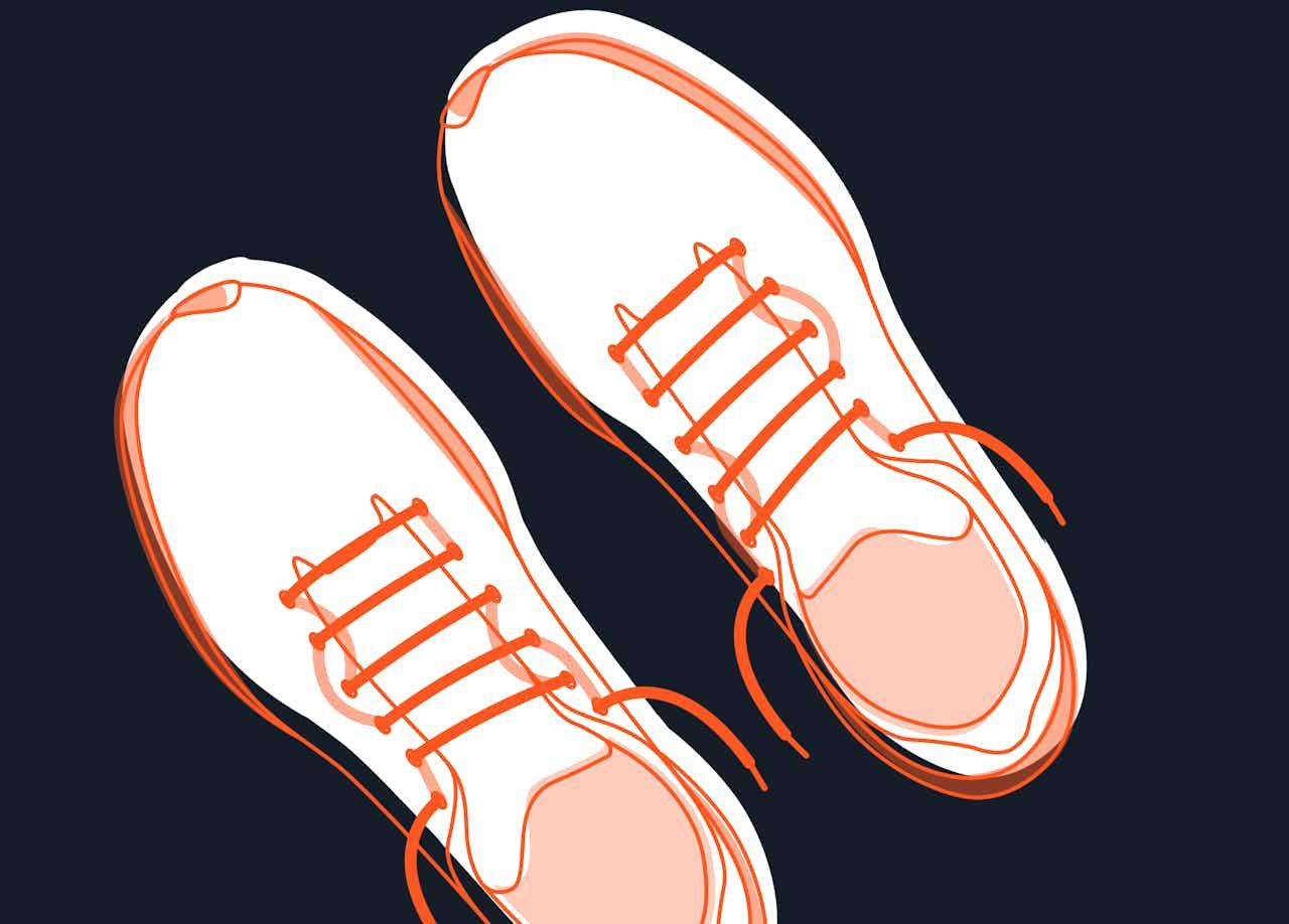 wechselseitige Laufschuh-Schnürung