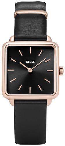 Cette montre CLUSE se compose d'un boîtier Carré de 28.5 mm et d'un bracelet en Cuir Noir