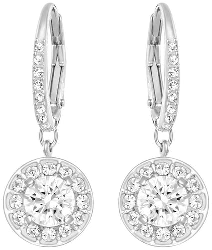 Ces Boucles d'oreilles Pendantes SWAROVSKI sont en Métal et Cristal Blanc  -